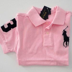 Ralph Lauren Boys SS Big Pony Polo Shirt NWT Pink